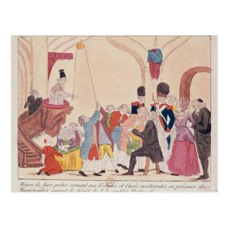 Caricatura de la manera de hacer aristocrático tarjeta postal