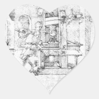 Caricatura de Lazarus Spengler de Albrecht Durer Pegatina En Forma De Corazón