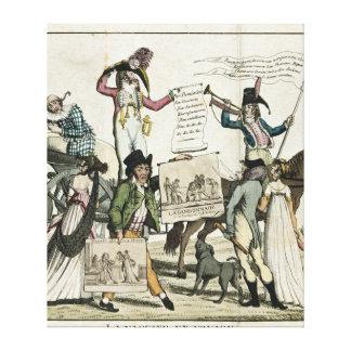 Caricatura de los curanderos que ofrecen vacunas impresión en lienzo