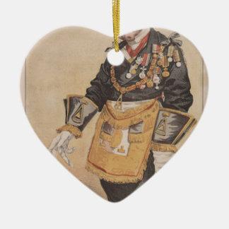Caricatura de los estadistas No.370 de Thomas Adorno Navideño De Cerámica En Forma De Corazón