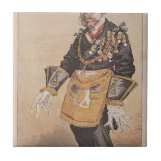 Caricatura de los estadistas No.370 de Thomas Azulejo Cuadrado Pequeño