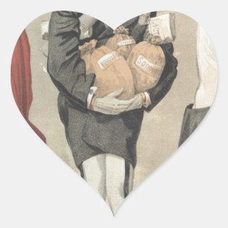 Caricatura de los Sovereigns No.30 de Leopold II Pegatina En Forma De Corazón
