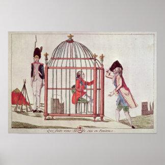 Caricatura de Louis XVI en una jaula Impresiones