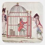 Caricatura de Louis XVI en una jaula Pegatina Cuadrada