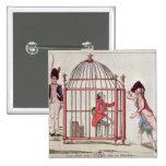 Caricatura de Louis XVI en una jaula Pin Cuadrado