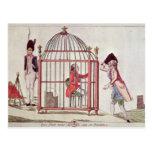 Caricatura de Louis XVI en una jaula Postales