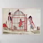 Caricatura de Louis XVI en una jaula Póster