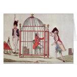 Caricatura de Louis XVI en una jaula Tarjeta De Felicitación