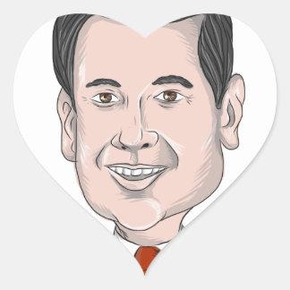 Caricatura de Marco Rubio Pegatina En Forma De Corazón