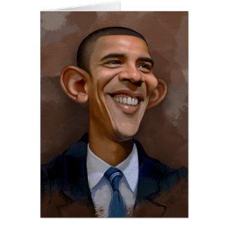 Caricatura de Obama Tarjeta De Felicitación