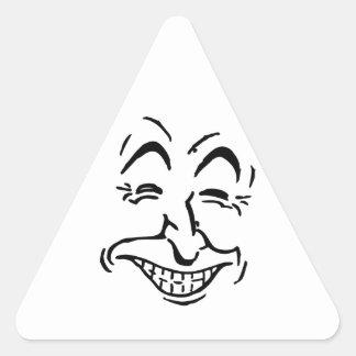 Caricatura de risa de la cara colcomanias de triangulo
