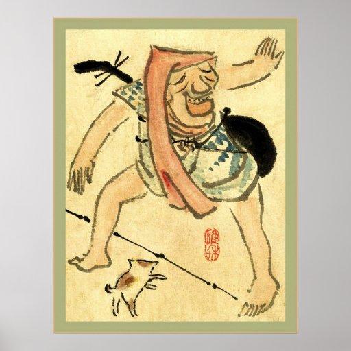 Caricatura de un japonés del vintage del ~ del bai póster