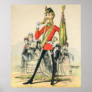 Caricatura de un soldado de Británicos del Victori Póster