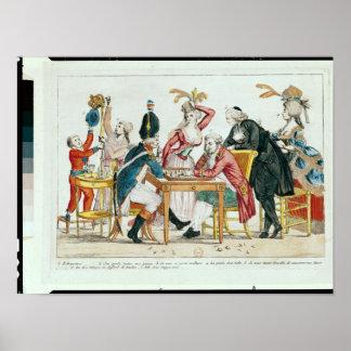 Caricatura del ajedrez que juega de Louis XVI Poster