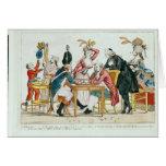 Caricatura del ajedrez que juega de Louis XVI Tarjeta
