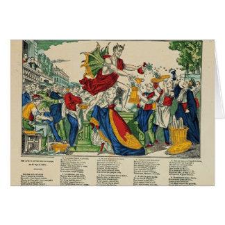 Caricatura del demonio del dinero, 1860 tarjeta de felicitación