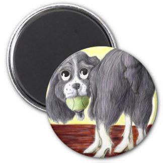 Caricatura del perro de aguas de saltador imán redondo 5 cm