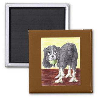 Caricatura del perro de aguas de saltador imán cuadrado