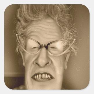 Caricatura del vintage de la señora mayor OAP Colcomanias Cuadradas