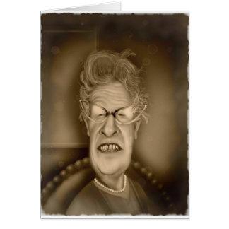 Caricatura del vintage de la señora mayor OAP retr Tarjeta De Felicitación