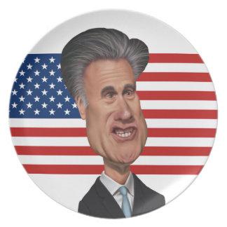 Caricatura presidencial los E.E.U.U. de Mitt Romne Plato De Cena