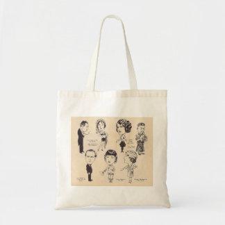 Caricaturas de la actriz del actor del vintage bolsa tela barata