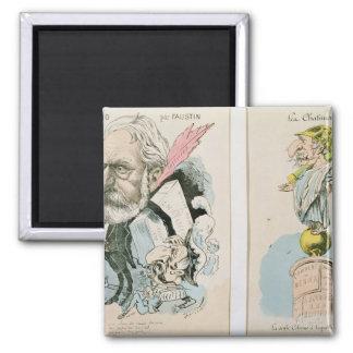 Caricaturas de Victor Hugo y de Napoleon III Imán Cuadrado