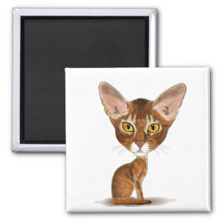 Caricature Abyssinian 2 Inch Square Magnet