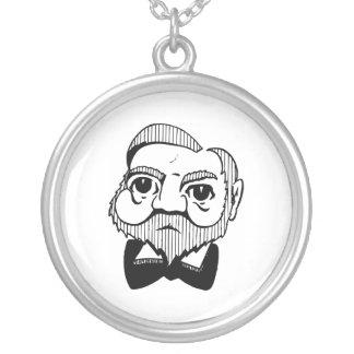 Caricature Andrew Carnegie Round Pendant Necklace