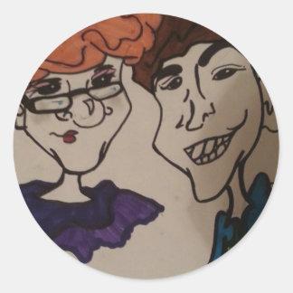 caricature art classic round sticker