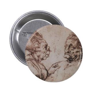 Caricature by Leonardo da Vinci Pinback Button