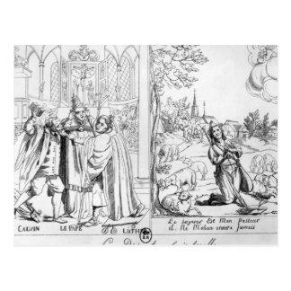 Caricature depicting a Spiritual Dispute Postcard