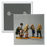 Caricature figurines of musicians 2 inch square button