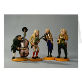 Caricature figurines of musicians greeting card