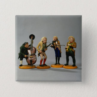 Caricature figurines of musicians pinback button