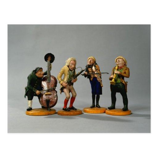 Caricature figurines of musicians postcard