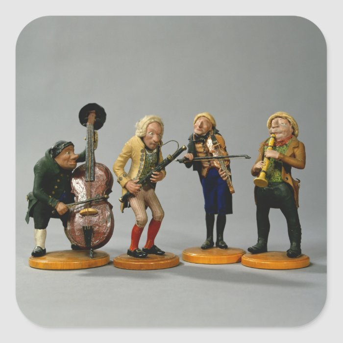 Caricature figurines of musicians square sticker