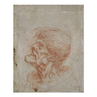 Caricature Head Study of an Old Man, c.1500-05 Poster