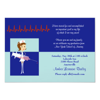 "Caricature Nursing School Graduation Invitation #2 5"" X 7"" Invitation Card"