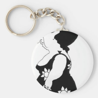 Caricature of a figure in a sunflower dress keychain