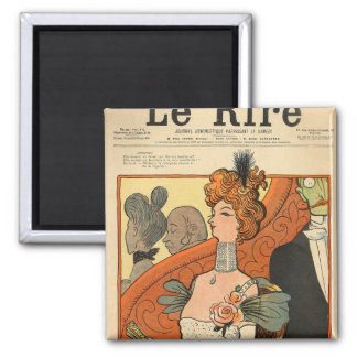 Caricature of a French Marquise 2 Inch Square Magnet