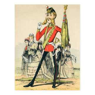 Caricature of a Victorian British Soldier Postcard