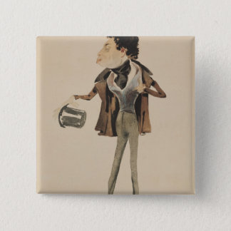 Caricature of Alexander Dumas Pere Pinback Button