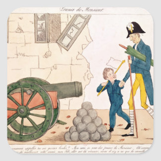 Caricature of Charles X  and Henri Duc de Square Sticker