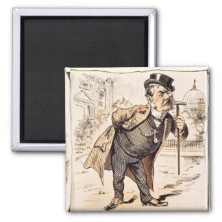 Caricature of Chester Alan Arthur, c.1883 2 Inch Square Magnet