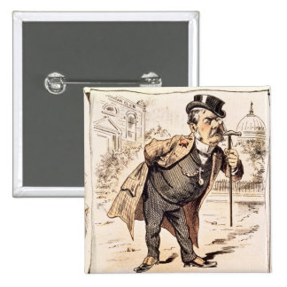 Caricature of Chester Alan Arthur, c.1883 2 Inch Square Button