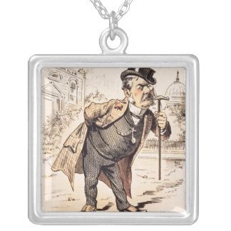 Caricature of Chester Alan Arthur, c.1883 Silver Plated Necklace