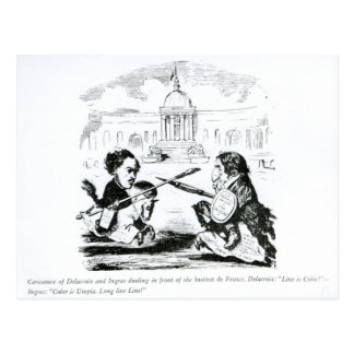 Caricature of Delacroix and Ingres Postcard