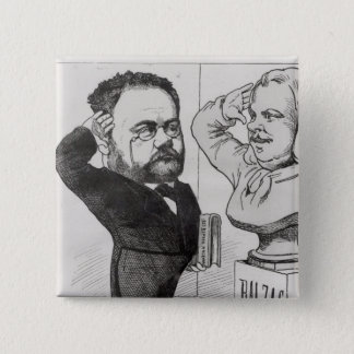 Caricature of Emile Zola Button