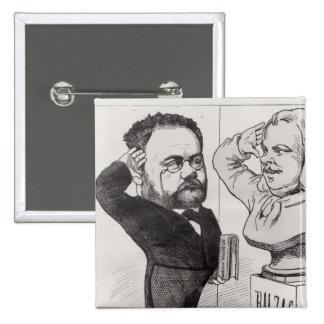 Caricature of Emile Zola Button